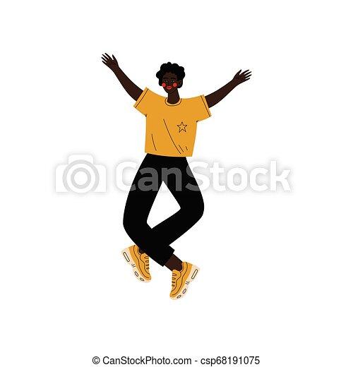 Un joven afroamericano felizmente saltando celebrando un evento importante, fiesta de baile, amistad, ilustración de vectores deportivos - csp68191075