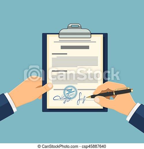 El hombre firma un acuerdo - csp45887640