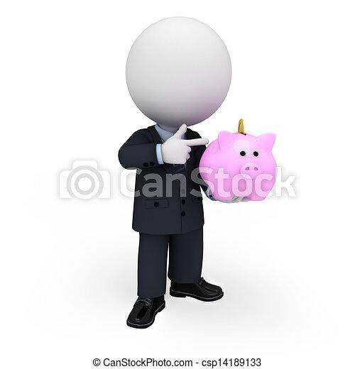 3D blancos como hombres de negocios - csp14189133