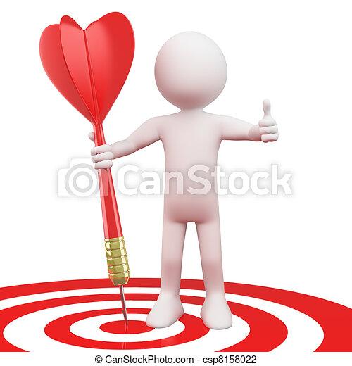Hombre con un dardo rojo en el blanco - csp8158022