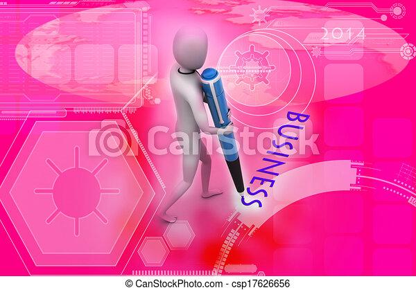 Un hombre escribiendo con una pe de punta roja - csp17626656