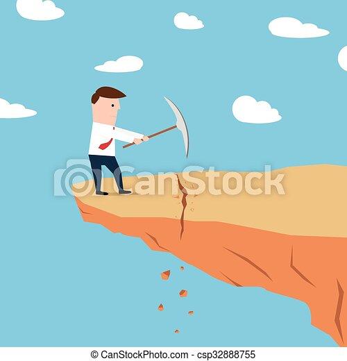 Un hombre en un acantilado cavando tierra - csp32888755