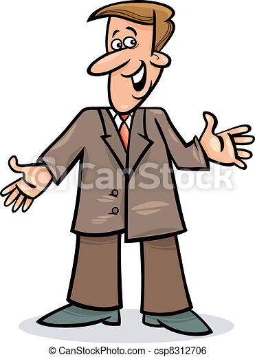Un hombre de cartón con traje - csp8312706