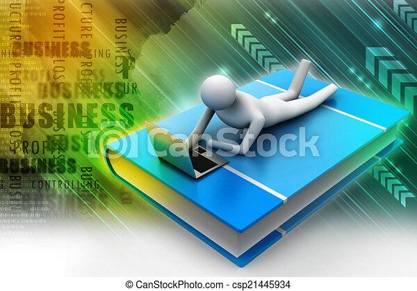Hombre 3D en el libro con portátil - csp21445934
