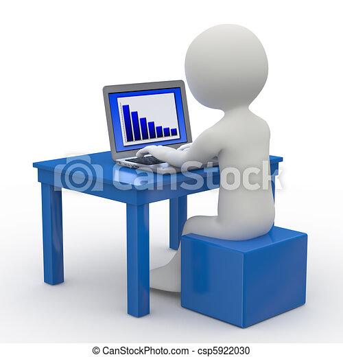 Hombre sentado con una laptop - csp5922030