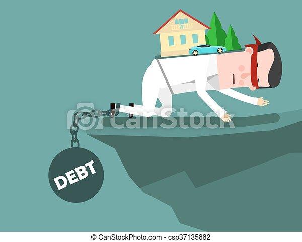El hombre de negocios se esfuerza por subir por el precipicio pero la carga de la deuda lo hunde. Un concepto de negocios sobre la deuda. - csp37135882