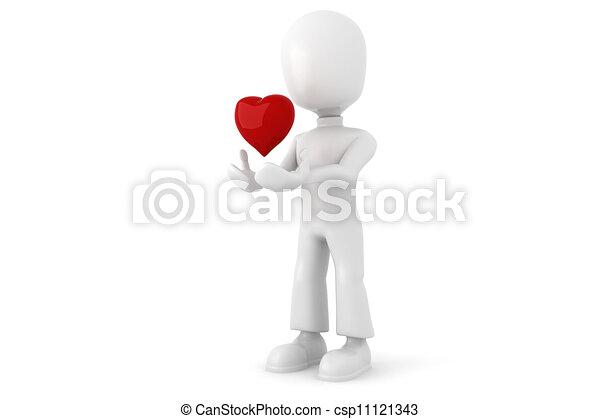 Hombre 3D con un gran corazón rojo - csp11121343