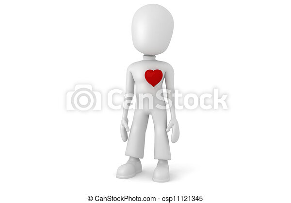 Hombre 3D con un gran corazón rojo - csp11121345