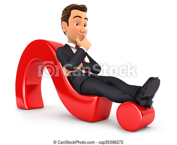 Hombre de negocios en 3D tirado en signo de interrogación - csp35396272