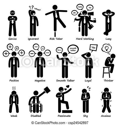 Personalidades de actitud de hombre de negocios - csp24542897