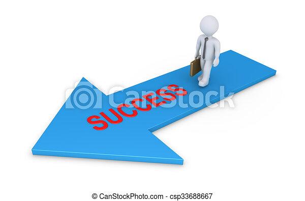 Hombre de negocios caminando en la flecha de éxito - csp33688667