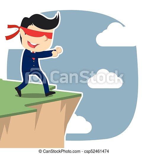 Un hombre de negocios con los ojos vendados caminando al borde del acantilado - csp52461474