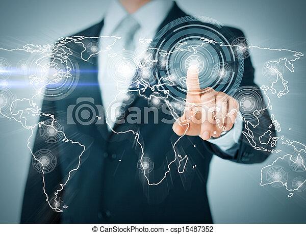 Hombre de negocios presionando botón con contacto - csp15487352