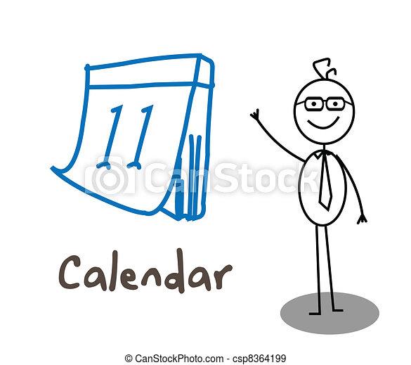 Calendario de hombres de negocios - csp8364199