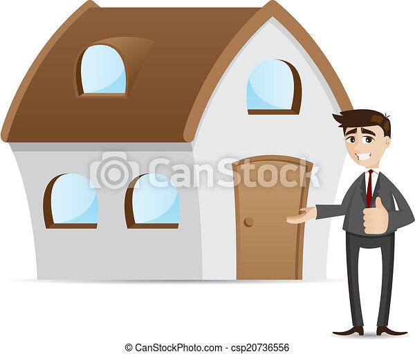Empresario de dibujos animados con casa - csp20736556
