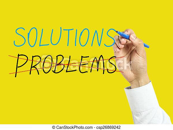 hombre de negocios, concepto, soluciones, mano, dibujo - csp26869242
