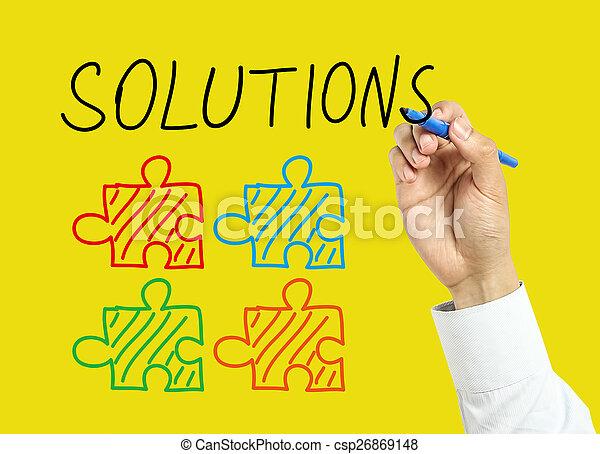 El concepto de diseño de soluciones para hombres de negocios - csp26869148