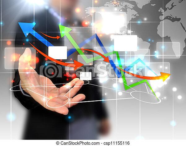 hombre de negocios, conectado, tenencia, mundo - csp11155116