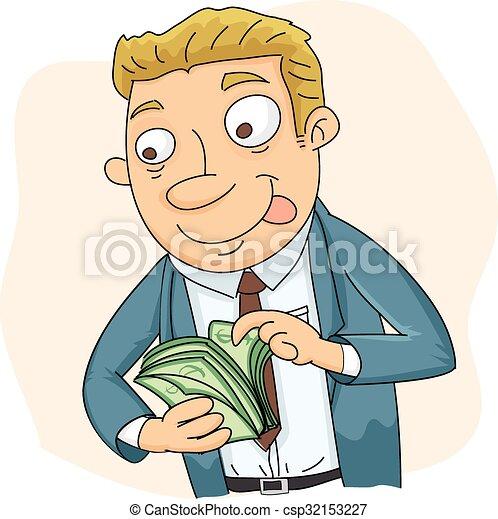 Hombre De Negocios Contar Dinero Dinero Sonrisa