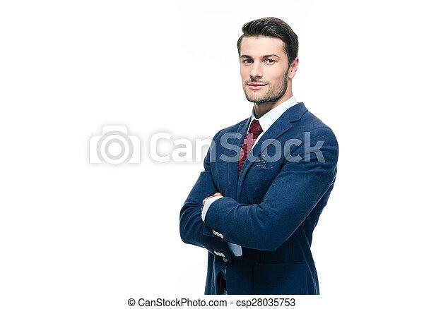 hombre de negocios, cruzó brazos, guapo - csp28035753