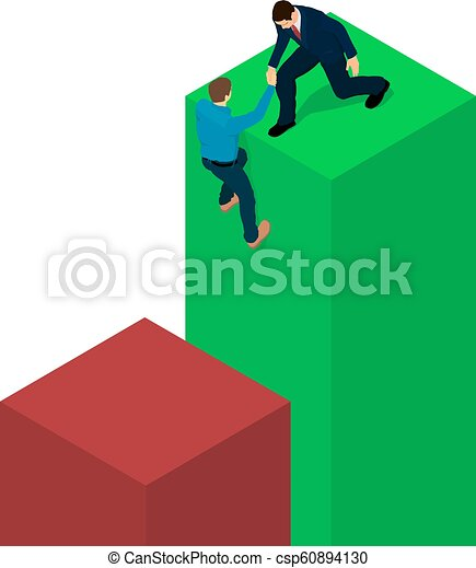 Un hombre de negocios ayuda a un hombre a meterse en un diagrama. - csp60894130