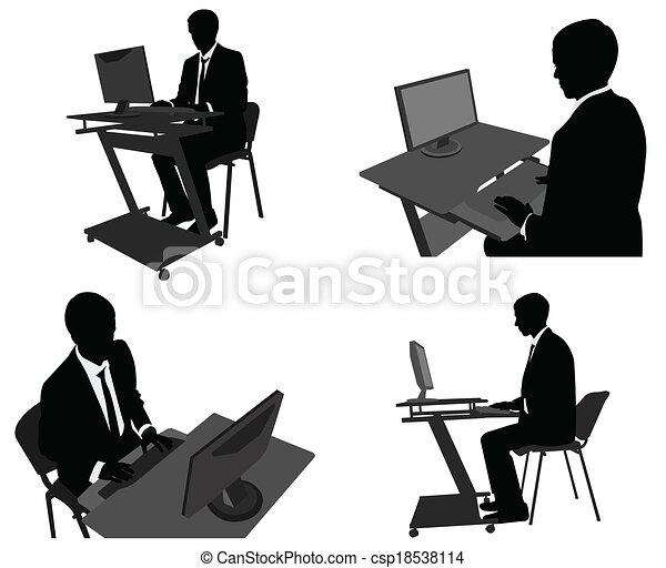 Hombre de negocios trabajando en su ordenador - csp18538114