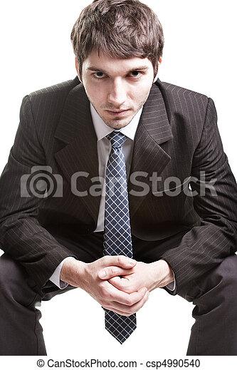 Determinado joven hombre de negocios sobre blanco - csp4990540