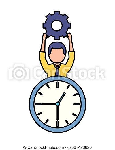 Hombre de negocios sosteniendo el reloj - csp67423620