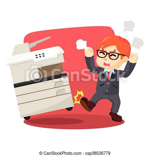 Un hombre de negocios enfadado haciendo fotocopias - csp38536779