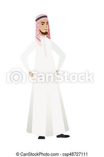 Un joven musulmán enojado hombre de negocios gritando. - csp48727111