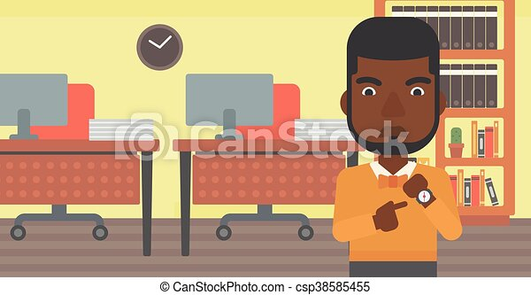 Un hombre de negocios enfadado apuntando a un reloj. - csp38585455