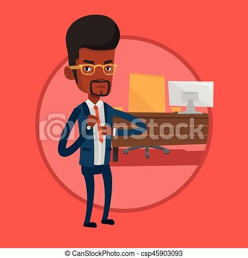 Un hombre de negocios enfadado apuntando a un reloj. - csp45903093