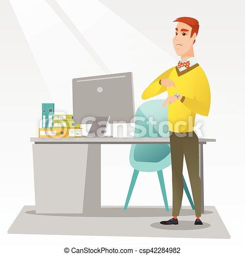 Un hombre de negocios enfadado apuntando a un reloj. - csp42284982