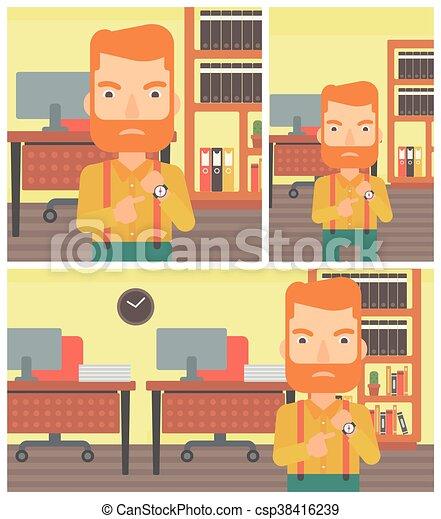 Un hombre de negocios enfadado apuntando a un reloj. - csp38416239