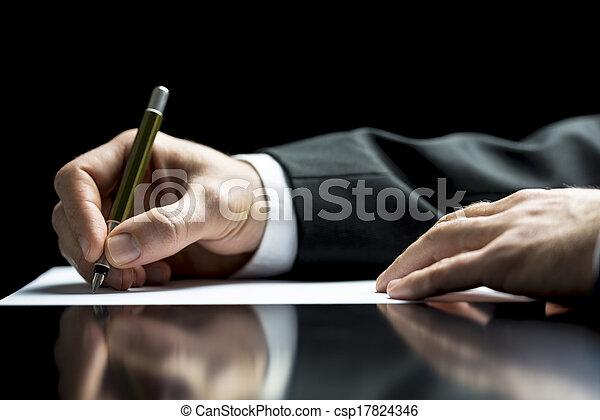 hombre de negocios, firma, o, escritura carta - csp17824346