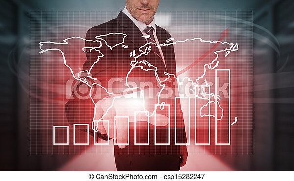 Hombre de negocios presionando cha futurista - csp15282247