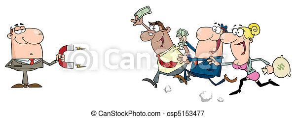 Hombre de negocios usando un imán - csp5153477