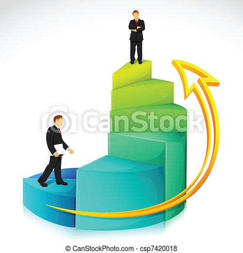 Hombre de negocios en gráfico de bar - csp7420018