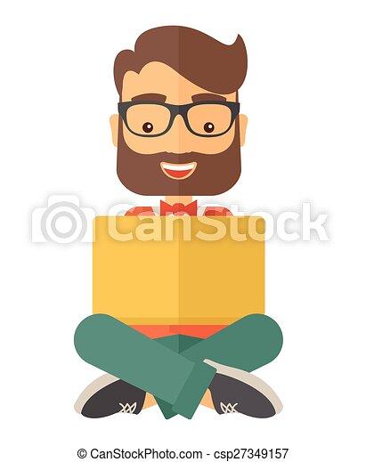 Hombre de negocios leyendo un libro - csp27349157