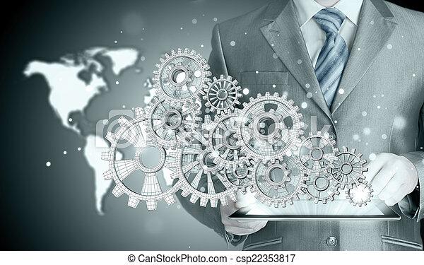 El hombre de negocios toca el equipo al concepto de éxito - csp22353817