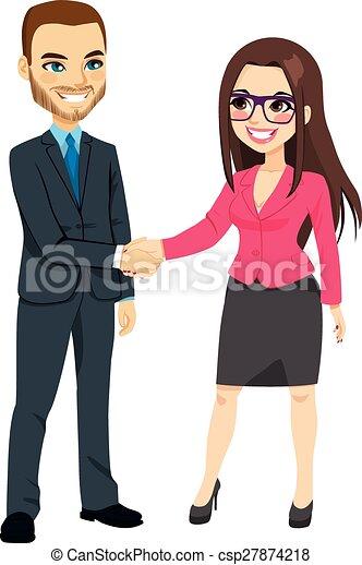 Hombre de negocios estrechando manos de mujer de negocios - csp27874218