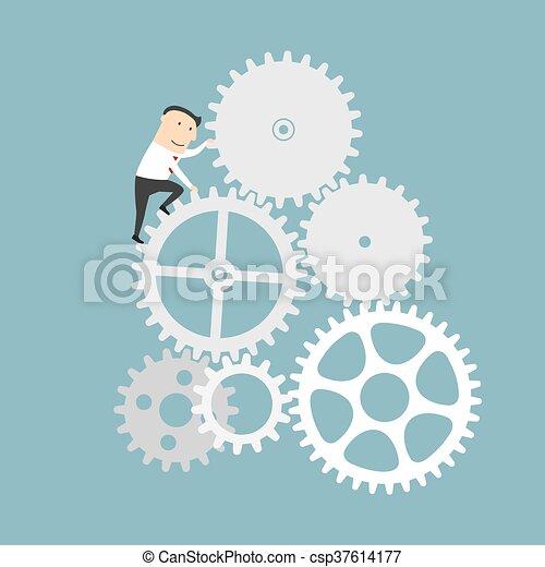 Empresario con sistema de engranajes de mecanismo comercial - csp37614177