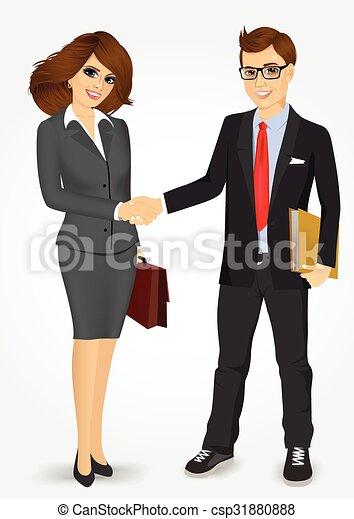 Hombre de negocios y mujer de negocios estrechando la mano - csp31880888