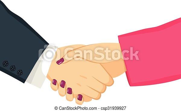 Hombre de negocios y mujer de negocios estrechando la mano - csp31939927