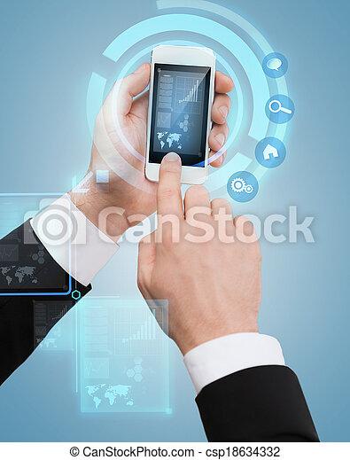 hombre de negocios, pantalla, conmovedor, smartphone - csp18634332