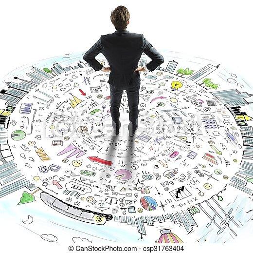 El hombre de negocios piensa en el mundo de los negocios - csp31763404