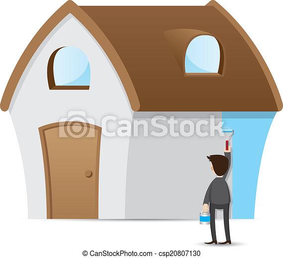 Casa de pintura de empresarios de dibujos animados - csp20807130