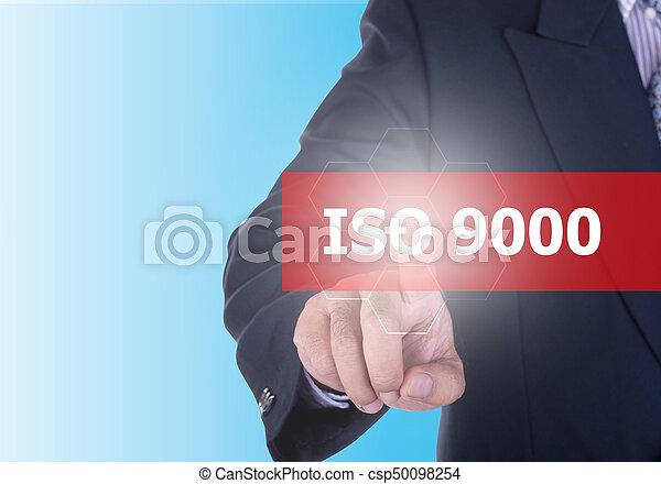 Empresario apremiando iso 9000 - csp50098254