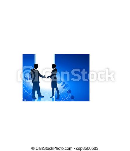 Empresario y mujer de negocios estrechando manos de fondo de Internet - csp3500583
