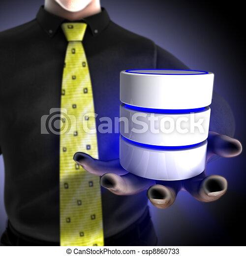 hombre de negocios, proporcionar, base de datos - csp8860733